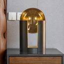 Round Desk Light Modernist Gold Glass 1 Bulb Task Lighting with Tube Metal Base, 8