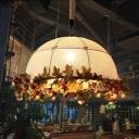 Metal Black Suspension Lamp Dome 1 Bulb Industrial Flower Pendant Ceiling Light for Restaurant