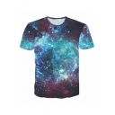 Blue Universe Starry Sky 3D Printed Short Sleeves Round Neck Casual T-Shirt