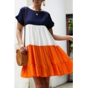Ladies Daily Round Neck Ruffle Embellished Short Sleeves Colorblock Panel Mini A-Line Swing Dress