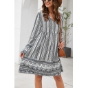 Vintage Floral Printed Long Sleeves V-Neck Keyhole Back Midi Loose Dress for Women