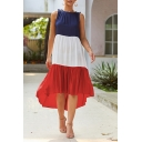 Hot Popular Summer Fashion Colorblocked Patchwork Sleeveless Round Neck Midi Swing Dress