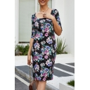 New Stylish Floral Printed Scoop Neck Half Sleeves Midi Fitted Pencil Dress for Women