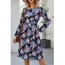 Women's Stylish Floral Printed Long Sleeves Round Neck Leisure Midi A-Line Dress