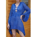 Creative Solid Color Ladies' Bell Sleeve Stand Collar Hollow Out Open Stitch High Low Hem Short Swing Sweater Dress