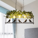 Black 3 Lights Island Ceiling Light Retro Metal Bird Cage Drop Lamp with Plant for Restaurant