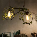 2 Lights Bicycle Island Light Industrial Black Metal Hanging Lamp with Plant Decoration