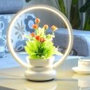 LED Round/Square Plant Table Lamp Industrial Black/White Metal LED Night Lighting in Warm/White Light