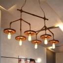 6 Lights Metal Island Lighting Industrial Rust Expose Bulb Dining Room Billiard Lamp