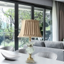 Urn Shape Bedroom Table Light Retro Beveled Crystal Prism 1 Bulb Light Brown Nightstand Lamp