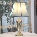 1 Light Crystal Nightstand Lamp Vintage Beige Urn Living Room Table Light with Fabric Empire Shade