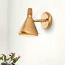 Metal Tapered Wall Lighting Modern 1 Head Brass Sconce Light Fixture with Wood Cap