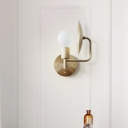 Gold Armed Sconce Modernism 1 Head Metal Wall Mounted Light Fixture for Living Room