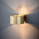 Drum Sconce Light Modernist Metal 1 Head Gold Wall Lighting Fixture for Living Room