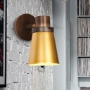 1 Head Tapered Sconce Light Modernism Metal Wall Lighting Fixture in Gold with Circle Wood Backplate