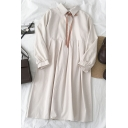 Cute Girls' Long Sleeve Lapel Collar Bow Tie Button Front Midi Pleated Relaxed Swing Dress in Apricot