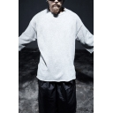 Men's Unique Plain 3/4 Length Sleeves Round Neck Loose Fit Pullover Sweatshirt