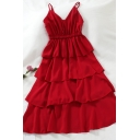 Fancy Plain Sleeveless V-Neck Tiered Long A-Line Cami Dress for Ladies