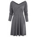 Women's Casual Plain Long Sleeve Surplice Neck Mid Length Pleated A-Line Dress