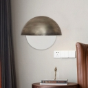 1 Head Semicircle Sconce Light Modern Metal Wall Mounted Lamp in Bronze with White Glass Shade