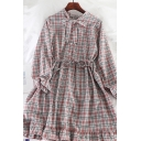 Pretty Girls' Long Sleeve Bow Tie Button Front Plaid Pattern Ruffle Trim A-Line Dress