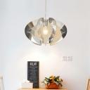 Laser Cut Pendant Lamp Modernist Acrylic 1 Head Chrome Ceiling Hanging Light for Bedroom