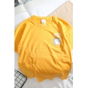 Students Cute Power Cat Letter Printed Short Sleeves Crew Neck Loose Fit Casual T-Shirt