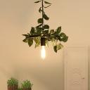 1 Light Bare Bulb Pendant Light Industrial Green Plant Metal Hanging Lamp for Restaurant