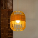 Laser Cut Pendant Lighting Chinese Wood 1 Bulb Ceiling Hanging Light in Beige for Dining Room