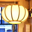 1 Head Pumpkin Ceiling Lamp Chinese Wood Hanging Light Fixture in Beige for Tearoom