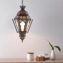 1 Light Hanging Lighting Vintage Urn Shape Metal Ceiling Pendant Lamp in Bronze for Bar