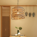 Bamboo Curl Bound Pendant Lighting Japanese 1 Bulb Ceiling Suspension Lamp in Wood