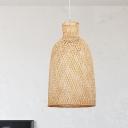 Asian 1 Bulb Down Lighting Khaki Bell Ceiling Pendant Light with Bamboo Shade