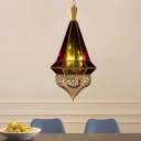 Antiqued Cone Pendant Chandelier 3 Lights Metal Suspended Lamp in Brass with Red and Green Glass Shade