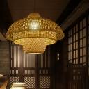 Flared Bamboo Ceiling Lamp Asian 1 Bulb Flaxen Pendant Lighting Fixture for Restaurant