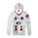 Popular American Flag NASA Logo Printed Long Sleeve Regular Fit White Pullover Hoodie