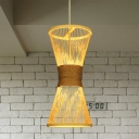 Beige Hourglass Pendant Lamp Asian 1 Bulb Bamboo Hanging Light Fixture for Living Room