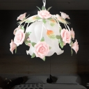 White Glass Rose Suspension Light Romantic Pastoral 1 Light Restaurant LED Drop Pendant