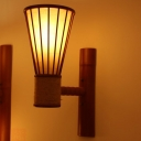 1 Bulb Wide Flare Sconce Japanese Bamboo Wall Mounted Light Fixture in Red Brown