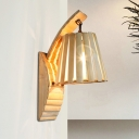 Wood Wide Flare Sconce Light Asian 1 Bulb Wall Mounted Lamp in Khaki for Restaurant