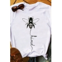 Classic Bee KIND Letter Printed Roll-Up Short Sleeves Crewneck Leisure T-Shirt
