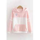 Preppy Style Embroidery Letter SEAL Print Kangaroo Pocket Striped Long Sleeve Colorblock Hoodie