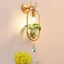 Antler Living Room Wall Light Industrial Metal 1 Light Gold LED Sconce Lighting Fixture without Plant