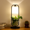 LED Cylinder Plant Table Lamp Industrial Black Metal LED Night Light for Living Room