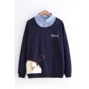Cartoon Cat and Fish Bone Pattern Denim Patched Lapel Collar Oversized Sweatshirt