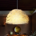1 Head Restaurant Pendant Lamp Chinese White Hanging Light Fixture with Bowl Rattan Shade