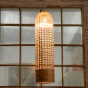 Bamboo Cylindrical Pendant Light Japanese 1 Head Ceiling Suspension Lamp in Beige
