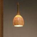 Asian 1 Head Down Lighting Beige Domed Ceiling Pendant Light with Bamboo Shade