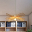 Bamboo Hand-Worked Hanging Light Japanese 1 Bulb Ceiling Suspension Lamp in Beige