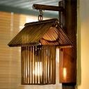 House Sconce Light Japanese Bamboo 1 Bulb Wall Mounted Lighting in Khaki/Dark Coffee for Living Room